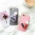 3d chapéu de lã bonito case para iphone 7 7 plus fundas para iphone 6 6 s 6 mais 6 splus case candy cor pano de pelúcia capa dura de volta