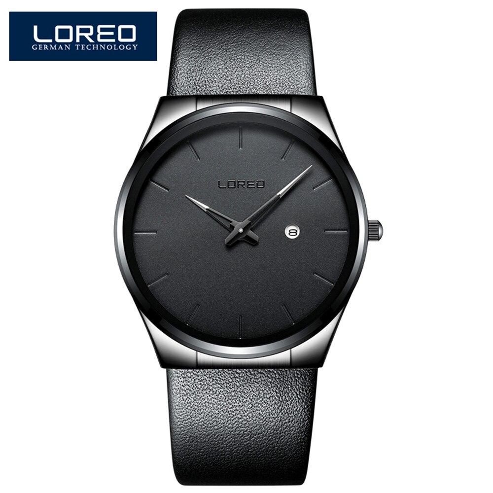 LOREO Simple Style Fashion Men Quartz Watch Creative Ultra Thin Steel Band Waterproof Luxury Casual Men