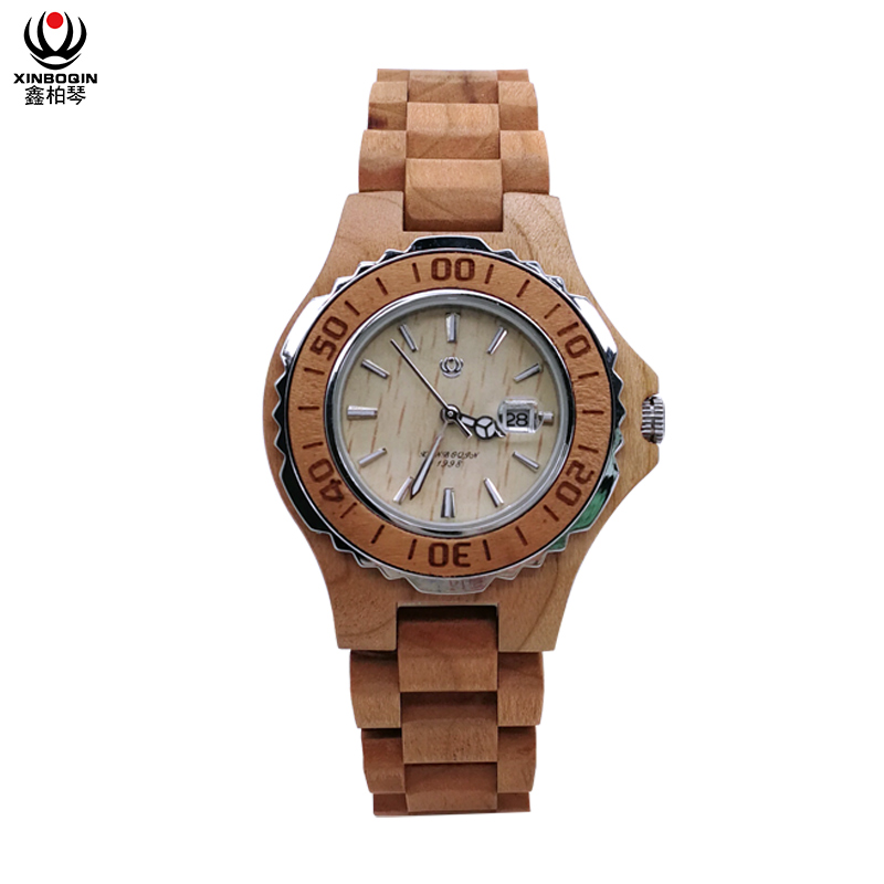 XINBOQIN Women Simple Quartz Watch Special Design Wooded Timepieces Water Resistant Watch Fashion Casual Women's Watch 6602
