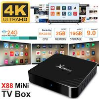 X88 Mini Smart WiFi 4K HD TV Box Network Player 2G+16G RK3318 for Android 9.0 Set top Box DC5V 2.5A with HDMI Cable