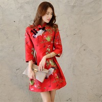 2017 Spring Designer Womens Dresses Red Mini Ball Gown Cheongsam Button Crane Bird Embroidery Fashion Cute
