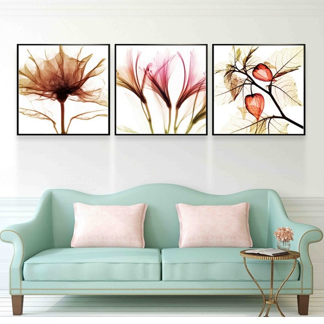 Triptych Impressionist Abstract Flower Oil Painting Canvas Fabric Artwork Aesthetic Wall Picture For Bedroom Home Decor