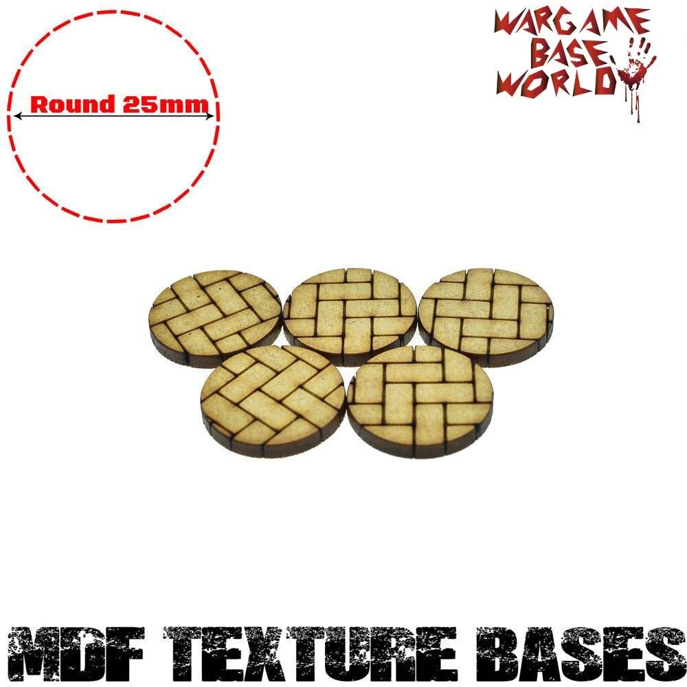 5x MDF Bases - 25mm Round Basket Weave Bricks Texture bases- Basing Laser Cut Wargames wood