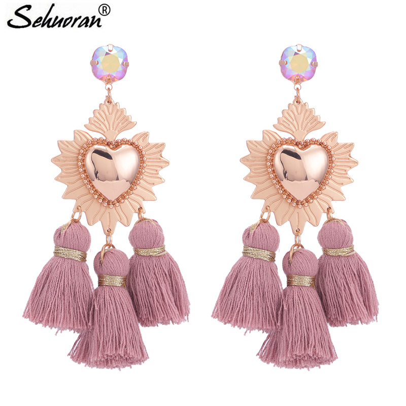 Sehuoran Tassel Earrings For Woman Brincos Are Big Earrings Long Pendients Boho Wedding Earrings Fashion Jewelry Oorbellen Gifts