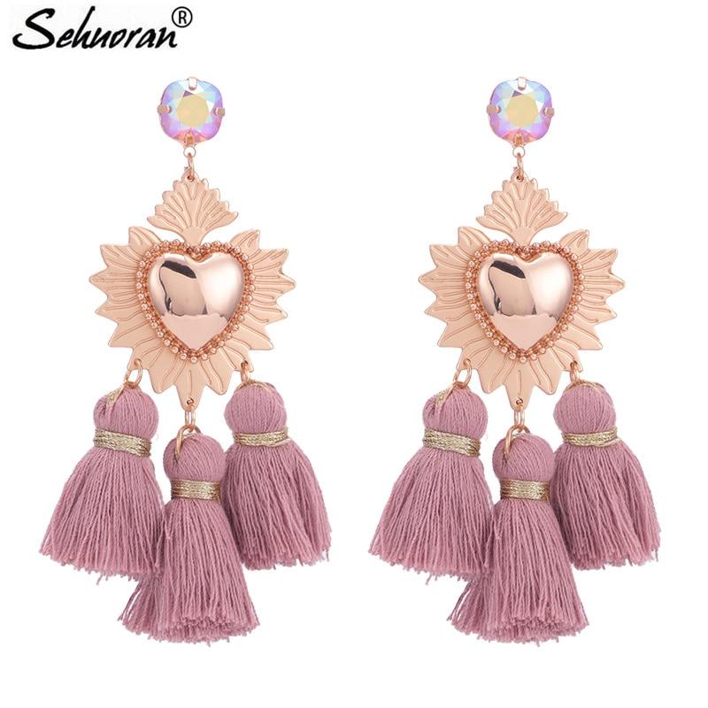 Sehuoran Tassel Earrings For Woman Brincos Are Big Earrings Long Pendients Boho Wedding Earrings Fashion Jewelry Oorbellen Gifts