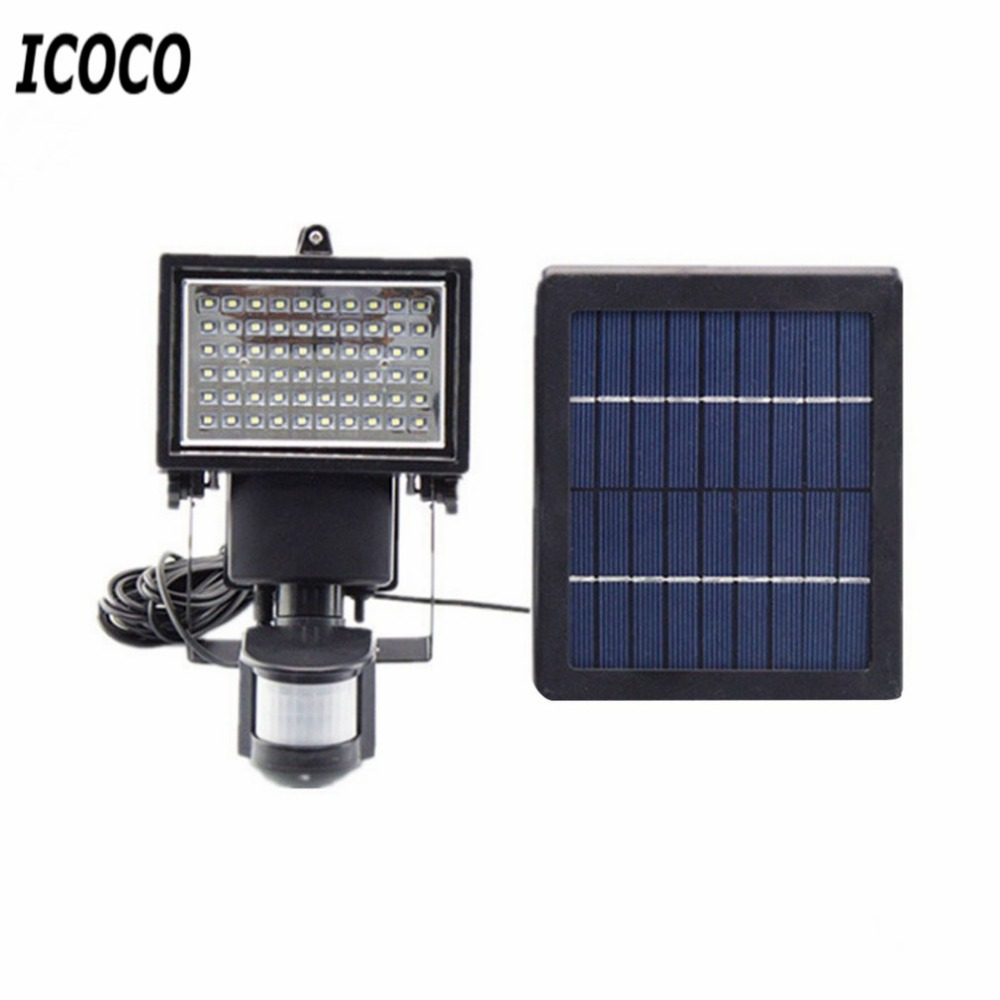 ICOCO Waterproof 60 LED Solar Powered Lamp Motion Sensor Emergency Security Lamp Super Bright for Garden Yard Path Outdoor Light 3pcs high quality 16 led solar powered light outdoor waterproof solar lamp with motion sensor street wall emergency lamp