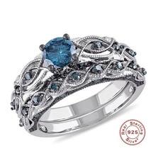 2018 BFQ Beautiful Bezel Setting S925 Sterling Engagement Ring Blå Kvinnors Diamond Fine Smycken Snabb leverans