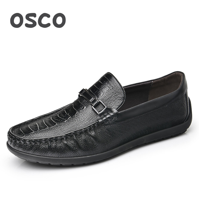 OSCO Loafers Men Spring Summer Men Shoes Wild Trend Lazy Shoes Genuine Leather Shoes Breathable Casual Fashion Boat Shoes osco spring summer business casual shoes wild lazy shoes british genuine leather breathable bean shoes men driving pedal loafer