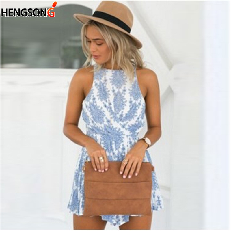 Women Summer Sexy Lace Up Playsuit 2018 Fashion Sleeveless Sexy Backless  Mini Rompers Women One Piece Suit 713102