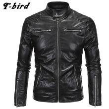 T-bird Jacket Men Winter 2017 Coat Male Bomber Jacket Men Punk Style   Brand Leather Outwear Mens Cotton Jackets Clothing 5XL