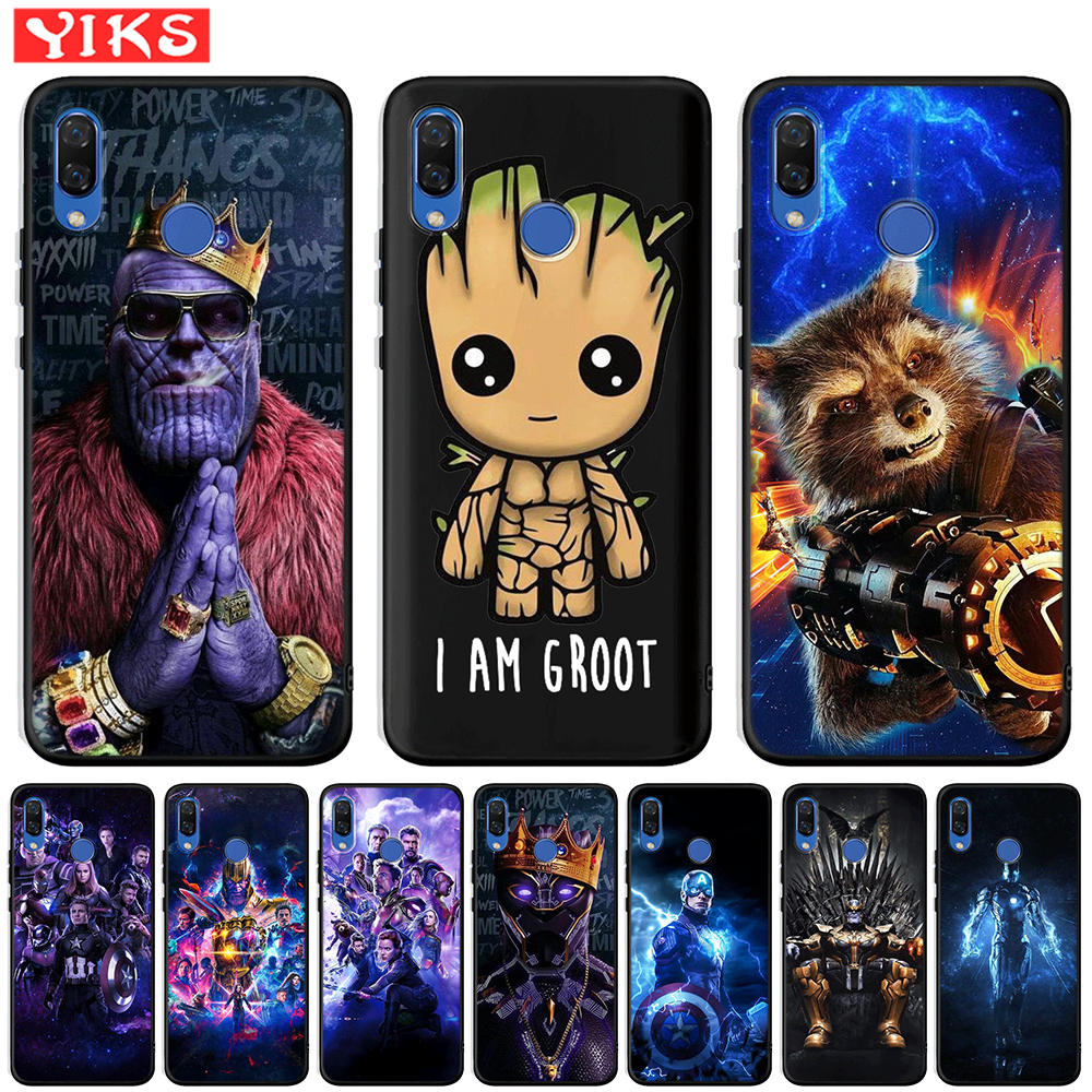 Marvel Avengers Heros Cute Groot Coque For Huawei Honor 20 Pro 10 9 9i 8 Lite 8X 8C 7A 7X V20 View 20 Case Black TPU Cover Etui image