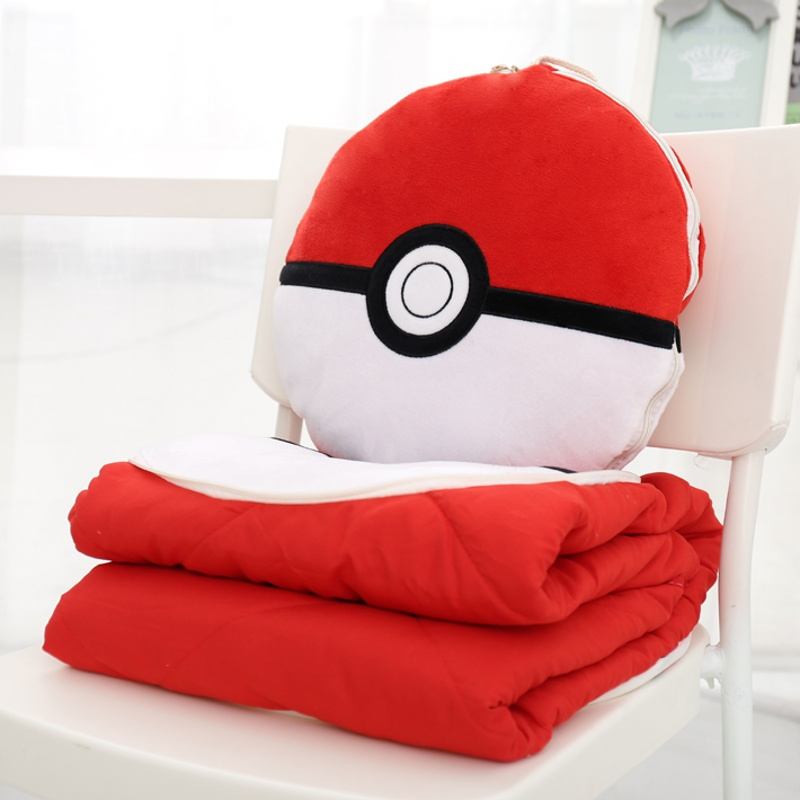 Multifunction quilt and pillow plush pikachu ball big soft family furniture toy Office chair cushion stuffed baby sleeping toys