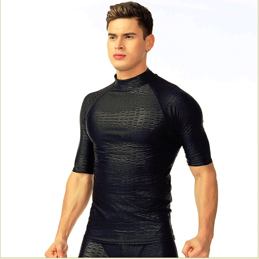 Sbart Mens UV Protection Sun Proof Rash Guards Short Sleeve Upf Protector Diving Wetsuit for Beach Swimming Surf Water Sports