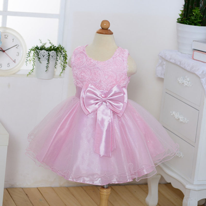 Age4-10T Princess Flower Dress Wedding Birthday Party Dresses For Girls Children Costume Teenager Prom Outfits Rose Bowknot Ku31 princess dress rose flower girl dress summer wedding birthday party dresses for girls children s costume teenager prom dress