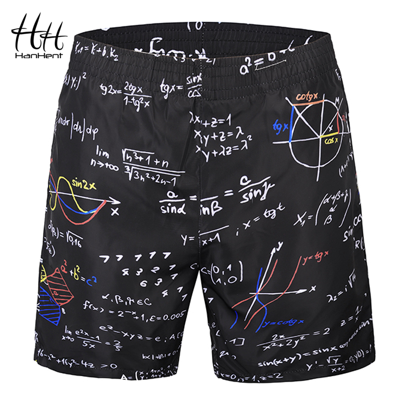 HanHent 3D Creative Math Beach   Shorts   Men Casual Elastic Band   Board     Shorts   Fitness Summer Pants Men's   shorts   Black Boys SH3009