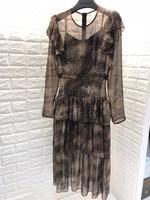 2019 summer new silk snake print ruffled shoulder mature elegant long sleeved dress