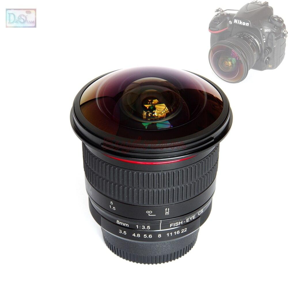 Objectif Fisheye 8mm 8mm F3.5 manuel Ultra HD pour appareil photo reflex numérique Nikon D5500 D5300 D5200 D3200 D3100 D3000 D7100 D7000 D90 oeil de poisson