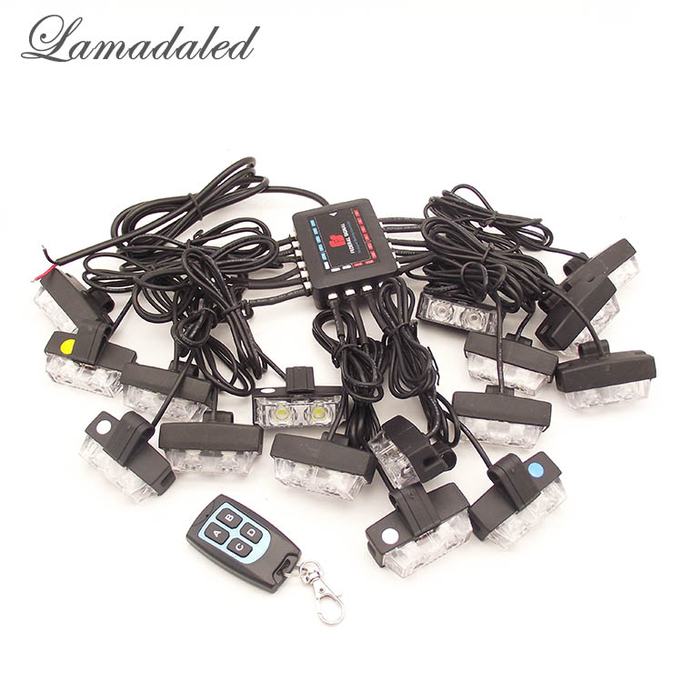 Lamadaled remote control red blue 16x2 LED Strobe Lights wireless Police Auto warning grille Lamp car grille flash lights гриль акустический naim grille assy mu so red