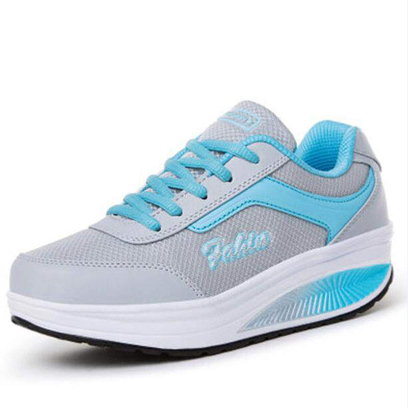 الشحن مجانا 2018 الصيف نمط المرأة عارضة الأحذية النسائية سوينغ الأحذية تنفس الشاش منصة الأحذية واحدة أحذية مصعد