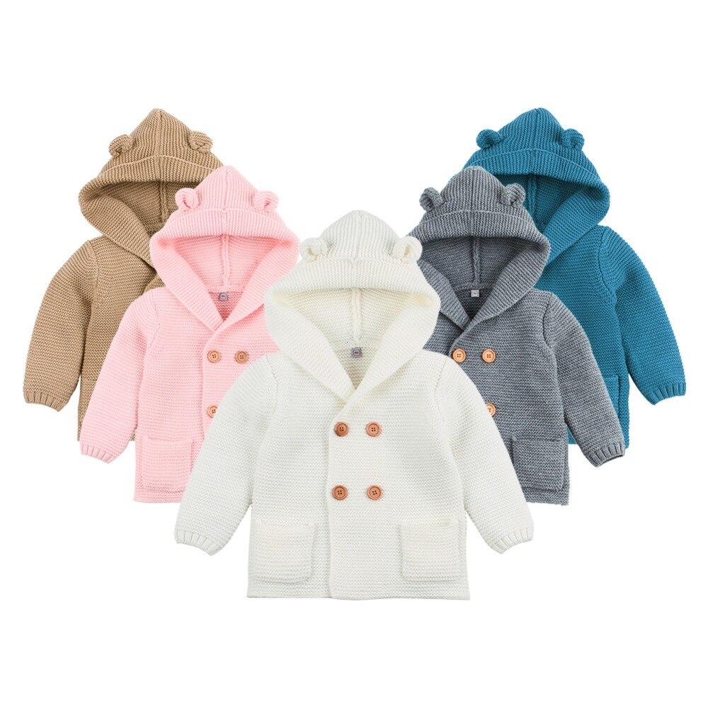 Cárdigan de punto de bebé 2018 invierno cálido recién nacido suéteres de moda de manga larga con capucha abrigo chaqueta niños ropa trajes