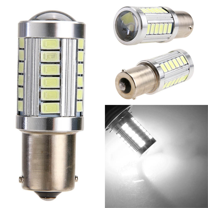 Car LED Light 5630 33SMD Lens 1156/P21W Automobiles Brake Back Taillight Fog Lamp Turn Signal Exterior Light-emitting Diode Bulb new arrival a pair 10w pure white 5630 3 smd led eagle eye lamp car back up daytime running fog light bulb 120lumen 18mm dc12v