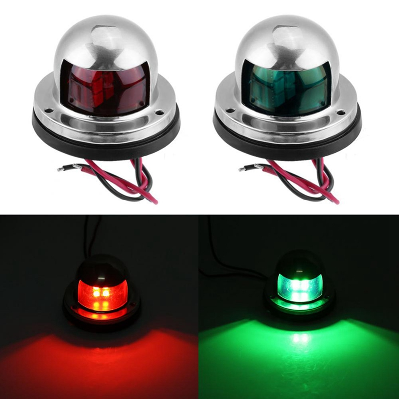 1 Pair Stainless Steel LED Bow Sailing Signal Navigation Red Green Light For Marine Yacht Indicator Rowing Boats LED Signal Lamp