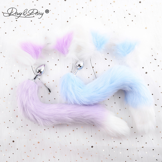 DAVYDAISY Cute Soft Cat Ears Headbands Faux Fox Tail Bow Metal Butt Anal Plug Cosplay Adult Sex Accessories for Woman AC111
