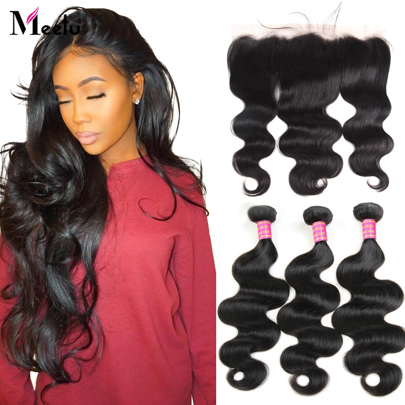 Meetu Body Wave Bundles with Frontal Malaysian Human Hair Bundles with Frontal 13x4 Lace Frontal Closure with Bundles Non Remy