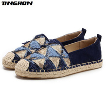 TINGHON Fashion Tassel Sequin Espadrilles  Comfortable Slip-on Womens Casual Slippers Breathable Flax Hemp Canvas Girls Shoes