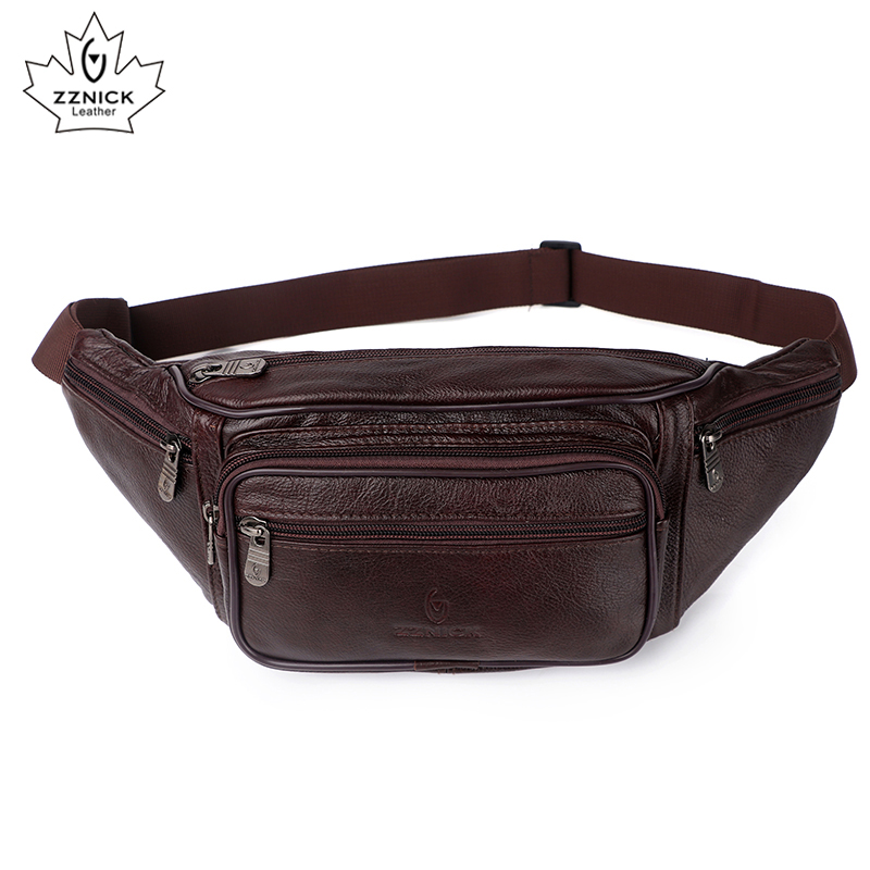 Image 2 - Genuine Leather Waist Bag men Waist Pack Waist Bag Funny Pack Belt Bag  Men Chain Waist Bag For Phone Pouch  Bolso ZZNICK-in Waist Packs from Luggage & Bags