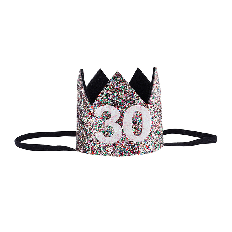 2018 30th Birthday Hat Gold Pink Priness Crown Hats Number 30 Year Old Party Glitter