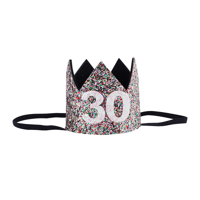 2018 30th Birthday Hat Gold Pink Priness Crown Hats Number 30 Year Old Party Glitter Headband Supplies