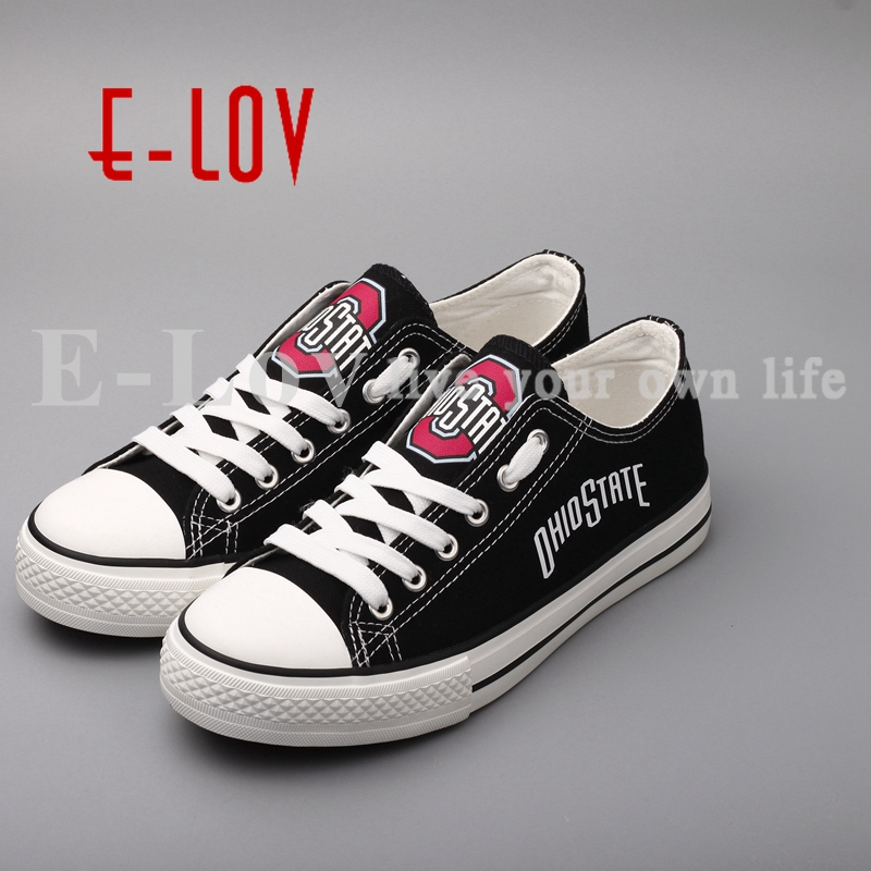 winesburg ohio E-LOV New Arrived Ohio State Buckeyes Canvas Shoes Low Top Lace Canvas Shoes Woman Girls Print Casual Shoes Festival Gift