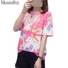 De talla grande ropa Camiseta, mujeres Camiseta acuarela Vintage camisetas Tops de verano estética camisetas estilo Harajuku mujer grande Camiseta de manga corta