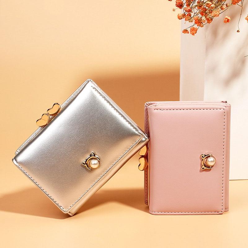 New Leather High Quality Women Wallets Zipper Coin Pocket Pearl Hasp Ladies Purse Cute Card Holder 3 Fold Female Clutch Bag W268