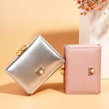 Купить с кэшбэком New Leather High Quality Women Wallets Zipper Coin Pocket Pearl Hasp Ladies Purse Cute Card Holder 3 Fold Female Clutch Bag W268