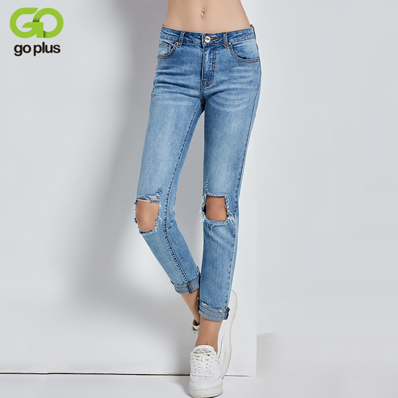 GOPLUS 2017 New Hollow Out Knee Ripped Jeans Elastic Indigo Raw Hems Denim Ankle Length Women Skinny Pants C4526 new original ap 8emr plc 8 digital input 8 relay output expansion module well tested working three months warranty