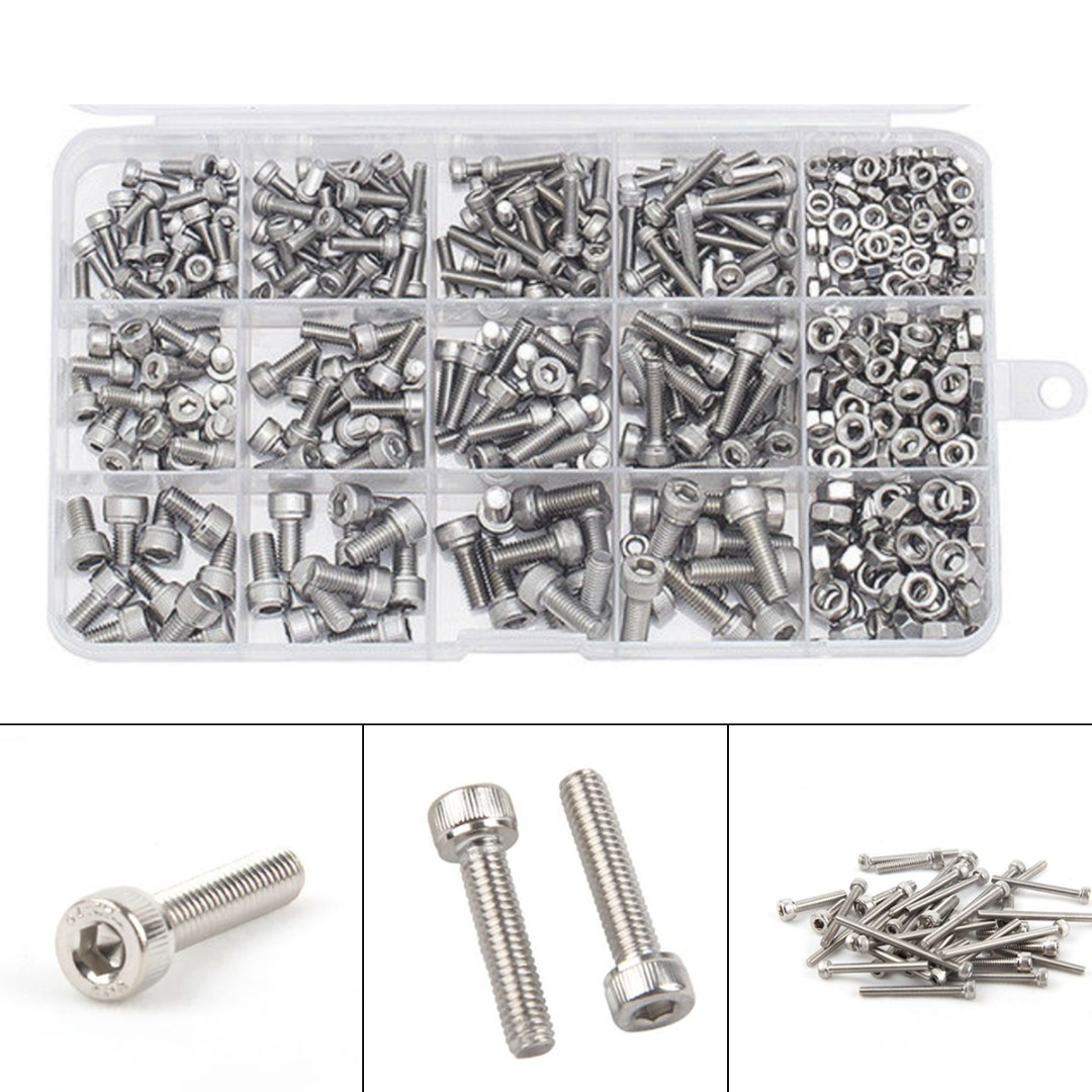 480 teile/satz M3 M4 M5 DIN912 304 Edelstahl Hexagon Kant Schraube Kit Fastener Sortiment Kit Reparatur Werkzeuge set