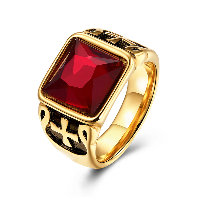 Gold Color Jesus Cross Engraved Mens Rings Luxury Red Square Stone