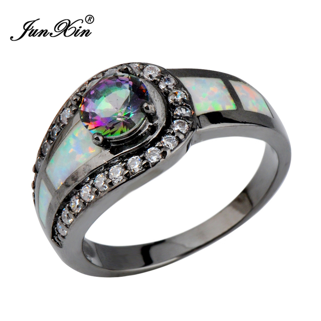 Rainbow Ball Female Opal Ring Black Gold Filled Jewelry Natural Stone Wedding Rings For Men And