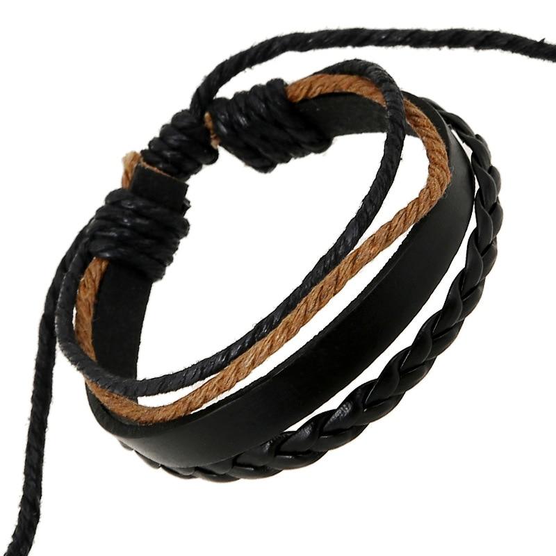 Trendy Cheap Handmade Black Genuine Retro Multilayer Leather Bracelets bangles For Women Pulseira Masculina Feminina Braslet