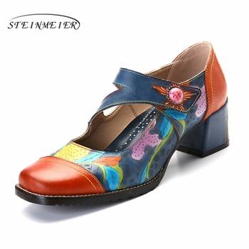 Women sandals pumps shoes vintage genuine leather high heels gladiator retro summer platform sandals for women shoes 2019