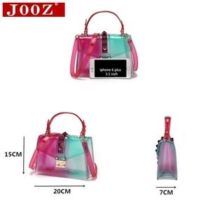 Image 3 - Clear Transparent saddle Bag Women Fashion rivet Jelly Bags Purse Panelled Color women Handbags sac a main femme Shoulder Bag