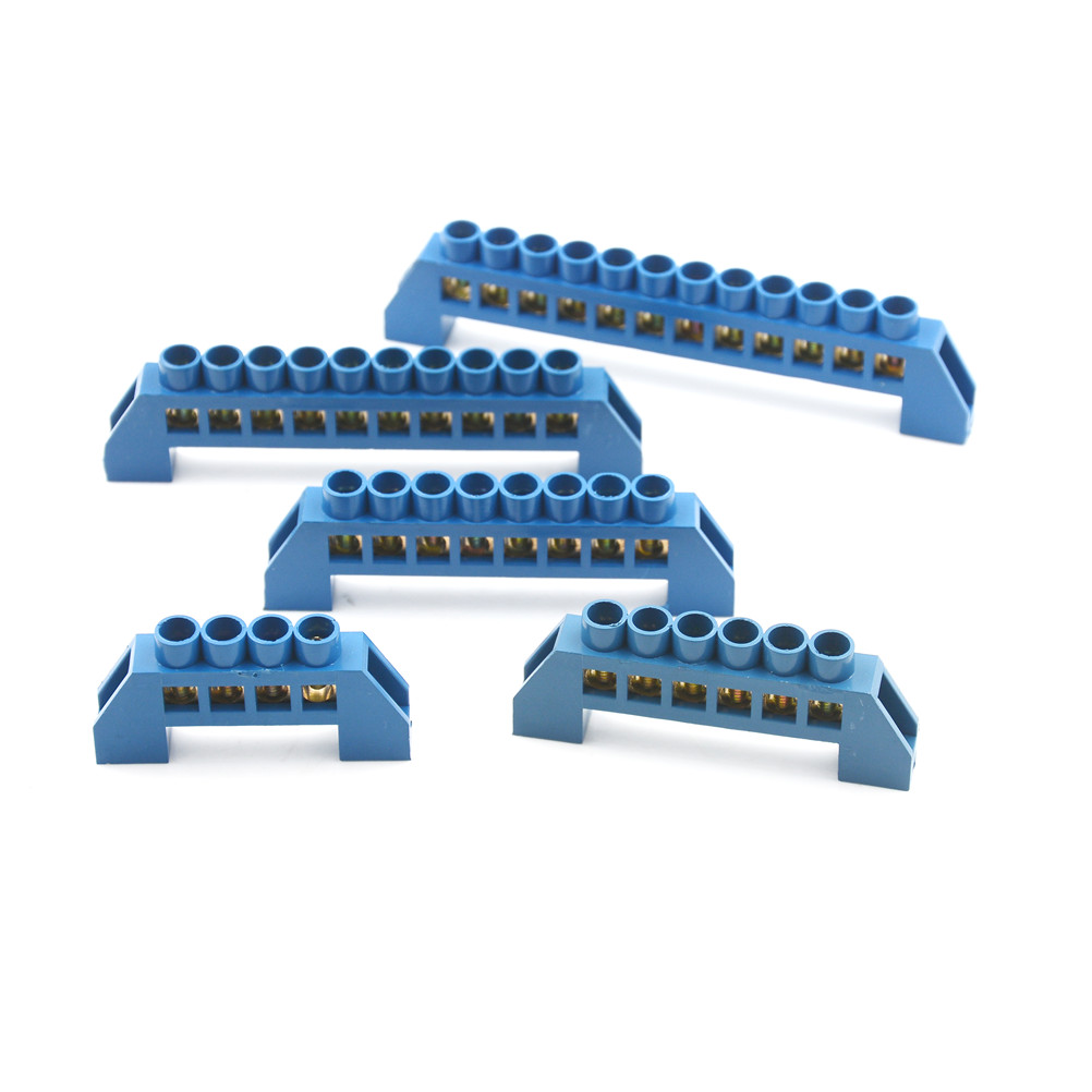 Hot Sale 4 6 8 10 12 Positions Terminal Block Connector Strip Wiring Distribution Electrical Wire Screw Brass Ground Neutral Bar Blue