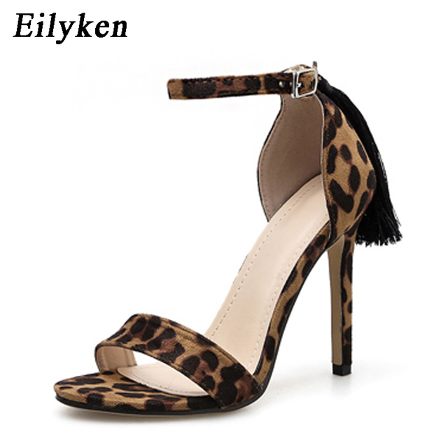 963d5d3e440 Eilyken Sexy Fringe Women Sandals Pumps Summer Buckle Strap High Heel  Leopard Women Party Pumps Sandals Shoes Size 35-40