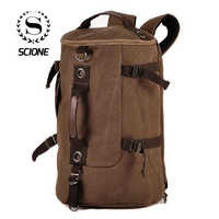 Scione Men Canvas Travel Backpacks Vintage Cylinder Casual Luggage Shoulder Bags Practical Portable Duffel Bagpack For Outdoor