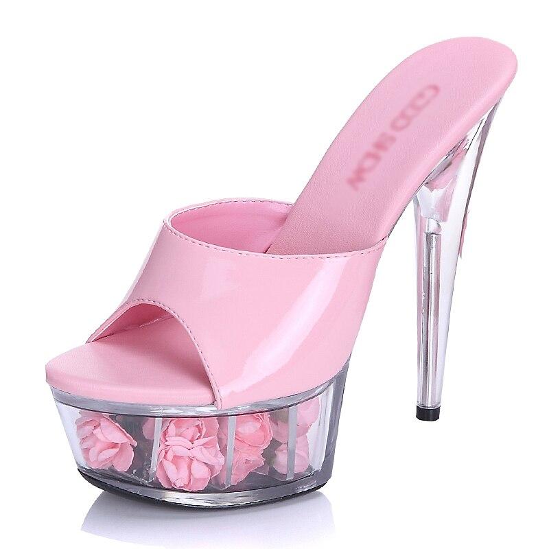 Chaussures red Heel Diapositives Toe Plate Heel Heel Rose black forme Talons Heel Dames 15 white Fleur Transparent Femmes pink Peep D'été 15cm Heel Pantoufles Cm Haute Effacer Cristal HrrxIcRWgw