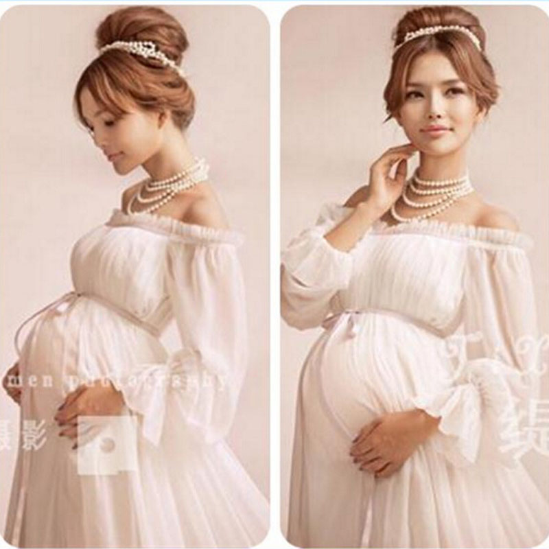 new white lace Maternity dress Photography Props Long lace ...