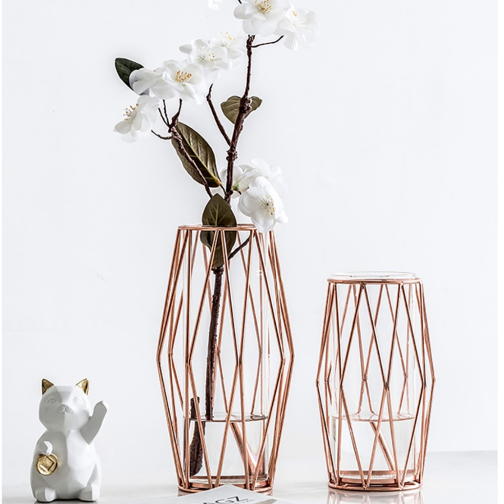 225 & US $18.61 40% OFF|Flower Vase Glass Flower Vases For Homes Metal Light Luxury Style Creative Hydroponic Container Vase Ornament K510-in Vases from ...