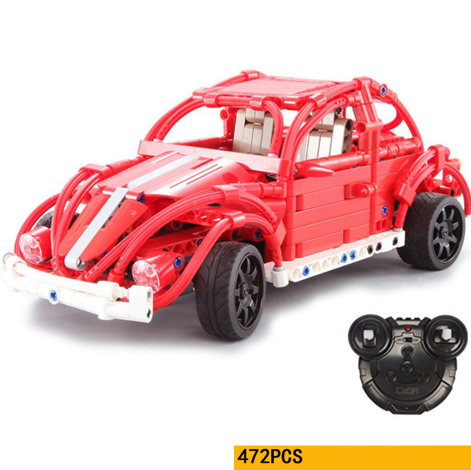 Technics Classic VW Beetle 2.4Ghz remote radio cars building block assemable model rc toys for gifts все цены